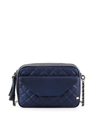 King Quilted Crossbody Bag, Metallic Blue