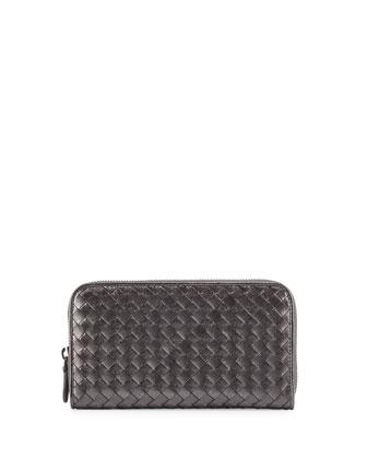 Intrecciato Continental Zip-Around Wallet, Silver