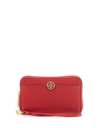 Robinson Pebbled Leather Smartphone Wristlet Wallet, Kir Royale