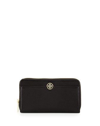 Robinson Pebbled Leather Continental Wallet, Black