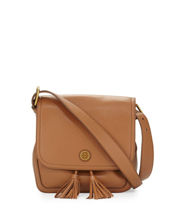 Frances Pebbled Leather Saddle Bag, Bark