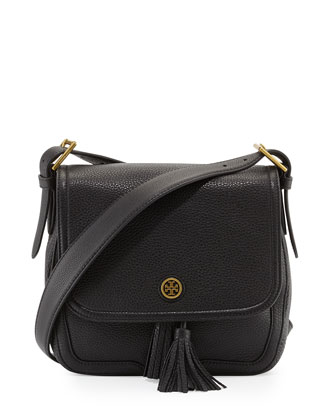 Frances Pebbled Leather Saddle Bag, Black