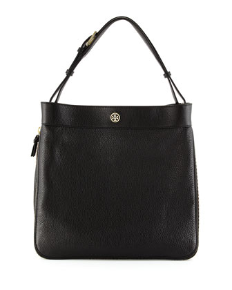 Robinson Pebbled Hobo Bag, Black