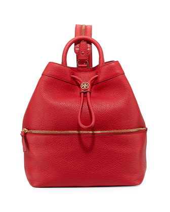 Robinson Pebbled Leather Backpack/Bucket Bag, Kir Royale