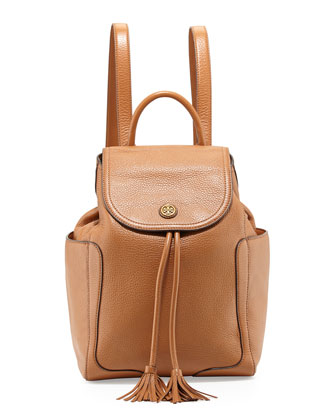 Frances Leather Flap Backpack, Bark