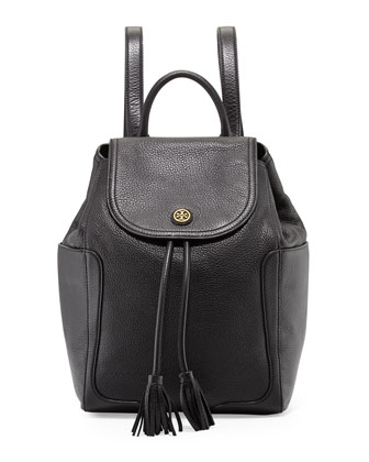 Frances Leather Flap Backpack, Black