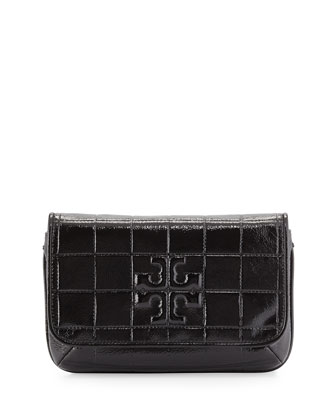 Marion Quilted Patent Clutch Bag, Black
