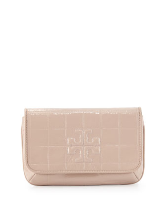 Marion Quilted Patent Clutch Bag, Light Oak