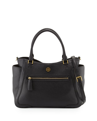 Frances Leather Satchel Bag, Black