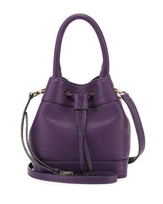 Robinson Mini Pebbled Bucket Bag, Purple Iris