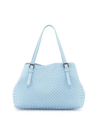 Intrecciato Medium Lambskin Tote Bag, Light Blue