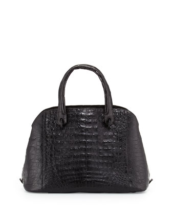 Crocodile Medium Open Dome Tote Bag, Black Shiny