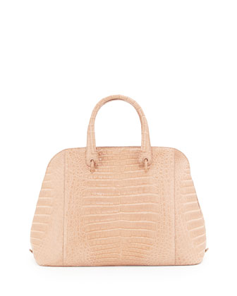 Crocodile Large Open Dome Tote Bag, Nude Matte