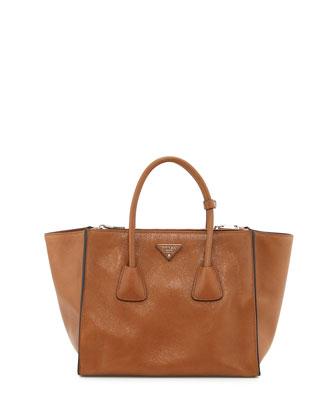 Glace Calf Twin Pocket Tote Bag, Dark Camel (Canella)