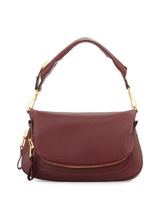 Jennifer East-West Leather Shoulder Bag, Carnal Red