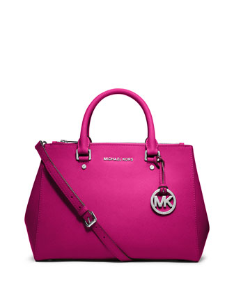 Sutton Medium Satchel Bag, Raspberry