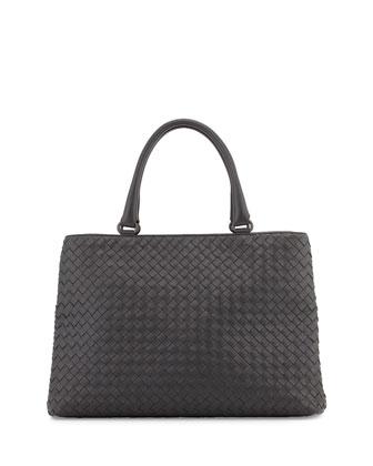 Woven Double-Compartment Tote Bag, Ardoise Dark Gray