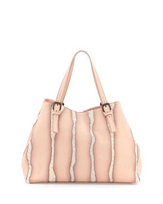 Large Woven-Stripe A-Shape Tote Bag, Flamingo Light Pink