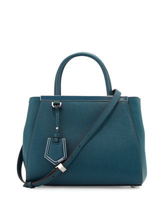 2Jours Medium Leather Tote Bag, Ocean
