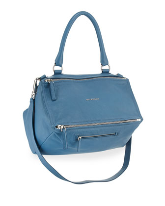 Pandora Medium Leather Satchel Bag, Medium Blue