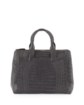 Modern Large Crocodile Tote Bag, Charcoal