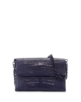 Medium Crocodile Chain Shoulder Bag, Navy Matte