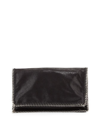 Falabella Fold-Over Evening Clutch Bag, Black