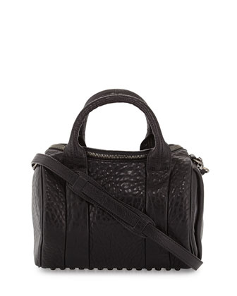 Rockie Lambskin Duffel Bag, Black