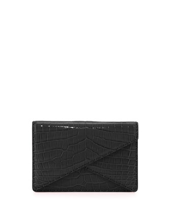 Piano Crocodile Crisscross Clutch Bag, Rosa Shock Pink