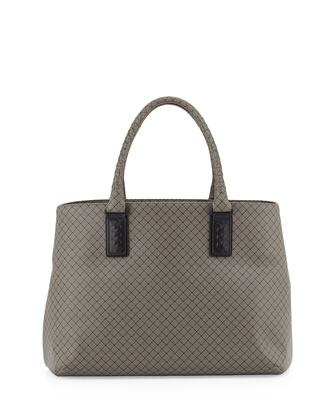 Medium East-West Shoulder Tote Bag, Dark Gray