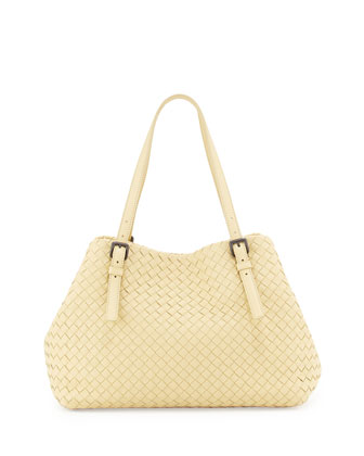 A-Shape Woven Tote Bag, Banana Pale Yellow