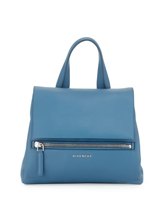 Pandora Pure Small Leather Satchel Bag, Medium Blue