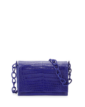 Medium Crocodile Chain Crossbody Bag, Cobalt Matte