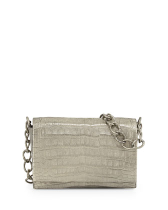Crocodile Medium Chain Crossbody Bag, Anthracite