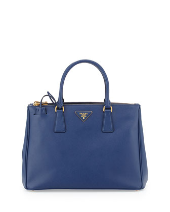 Saffiano Small Double-Zip Executive Tote Bag, Blue (Bluette)