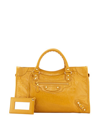 Giant 12 Golden City Lambskin Bag, Dark Yellow