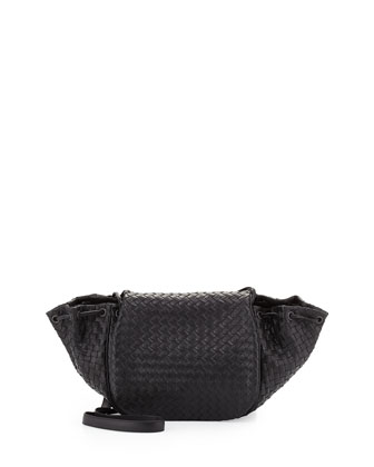 Intrecciato Medium Flap Messenger Bag, Black