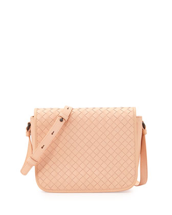 Small Woven-Flap Crossbody Bag, Flamingo