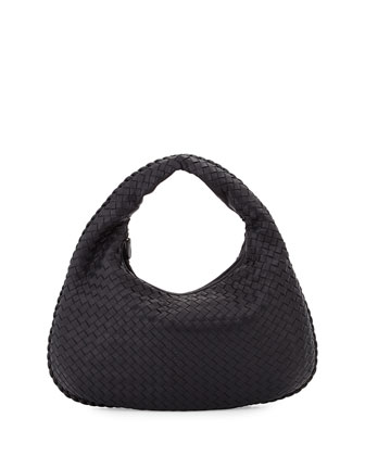 Veneta Intrecciato Medium Hobo Bag, Dark Navy