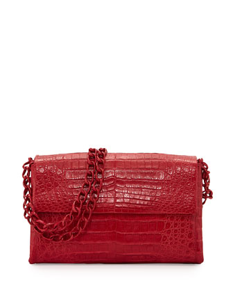 Crocodile Medium Flap Shoulder Bag, Red Matte