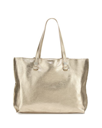 Marlie Metallic Leather Tote Bag, Light Gold