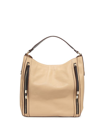 Gracie Leather Hobo Bag, Beige