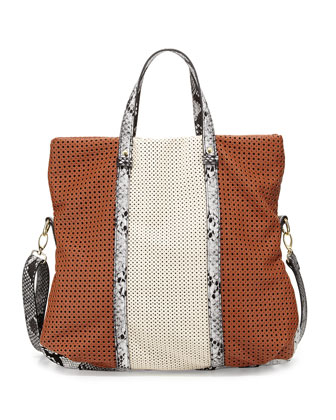 Iris Perforated Fold-Over Faux-Leather Bag, Cognac
