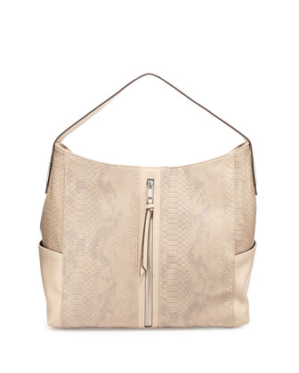 Tara Snake-Embossed Faux-Leather Hobo Bag, Gray