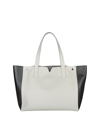 Signature V Colorblock Tote Bag, Pearl/Black