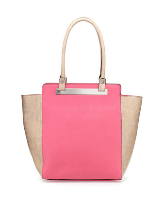 Elyse Faux-Leather Tote Bag, Fuchsia