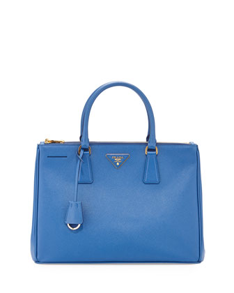 Saffiano Small Double-Zip Executive Tote Bag, Medium Blue (Azzuro)