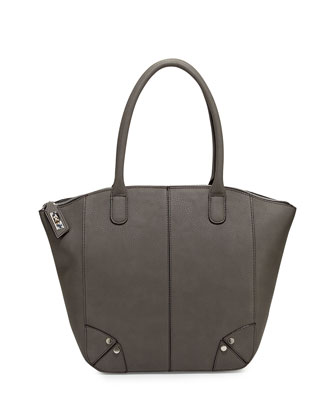 Grayson Faux-Leather Tote Bag, Gray