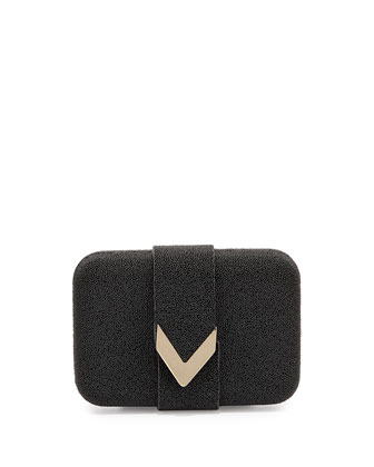Caviar Faux-Stingray Minaudiere Evening Clutch Bag, Black