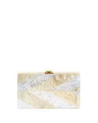 Pearly Minaudiere Evening Clutch Bag, White Pearl